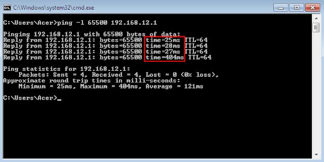 Ping dengan packet size tertinggi yaitu 65500 bytes