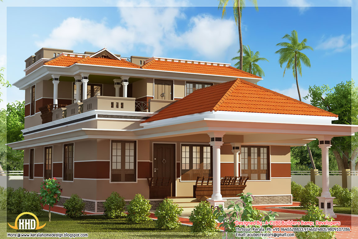 July 2012 kerala home design and floor plans for Three bedroom house plans kerala style
