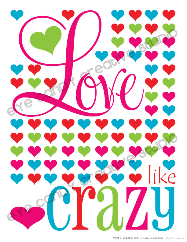 colored hearts, love like crazy, free valentines art, love art, valentines day