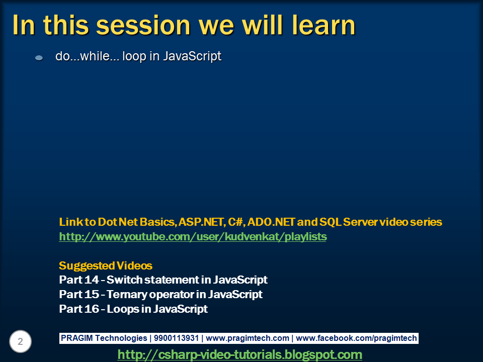 Sql server,  net and c# video tutorial: do while loop in