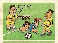 Komik Strip Bola Karya Slamet Widodo, Diving Kena Kartu Batal Puasa