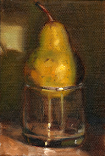 Oil painting of a green pear on top of an old fashioned glass.