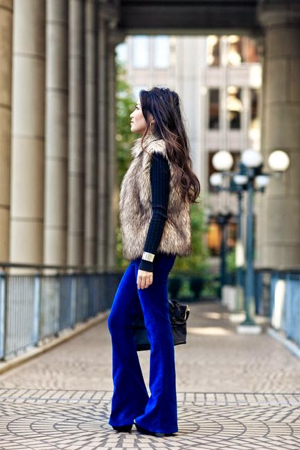 Wearing a Flare Jeans-Colored Blue with Faux Vest