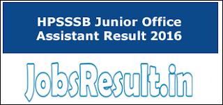HPSSSB Junior Office Assistant Result 2016