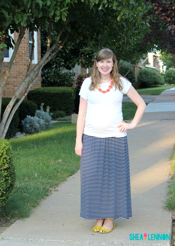 Striped maxi skirt with white tee and bright accessories - summer outfit idea | www.shealennon.com