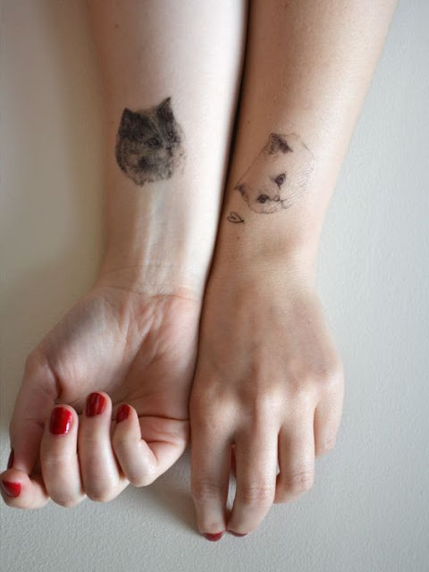 Sister Cat Tattoos Design on Hand