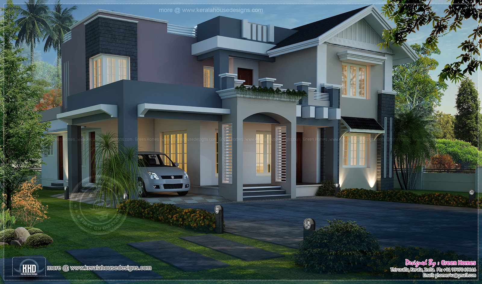 Awesome night view elevation of 2720 sq ft home home for House plans for homes with a view