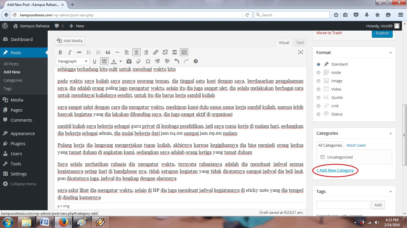 website, blog, wordpress, tutorial, cara, membuat, postingan, artikel