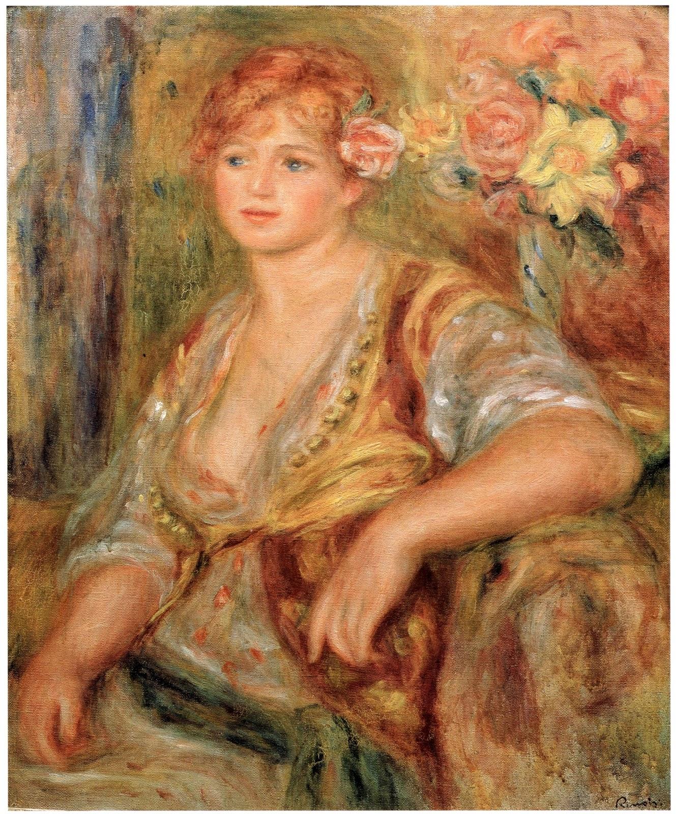 ピエール=オーギュスト・ルノワールのバラをさしたブロンドの女