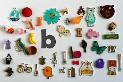 TomToy Individual letter B I spy trinkets for alphabet, Miniature abc objects, Montessori alphabet. Sorting toddler activities