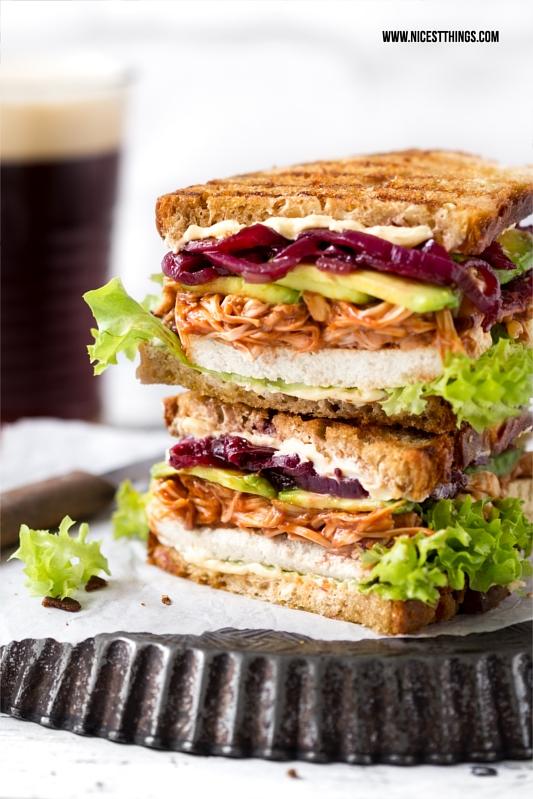 Rezept für vegane Pulled Jackfruit Sandwiches oder Burger