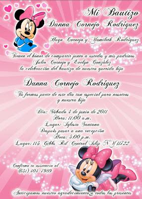 Tarjeta de Invitación de Minnie Mouse Rosada Rosa Descarga Gratis