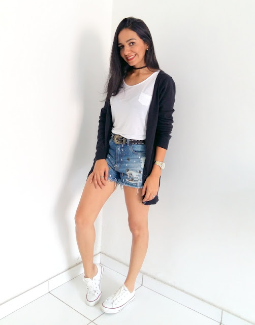 LOOK DO DIA: SHORT E BLUSA BRANCA