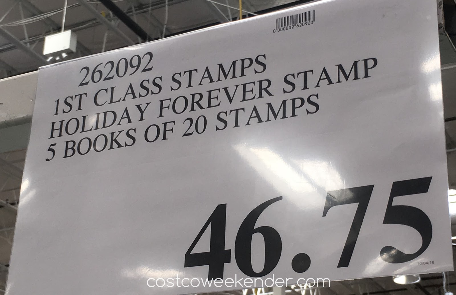 Costco 262092 - Deal for 5 booklets of 20 forever stamps at Costco