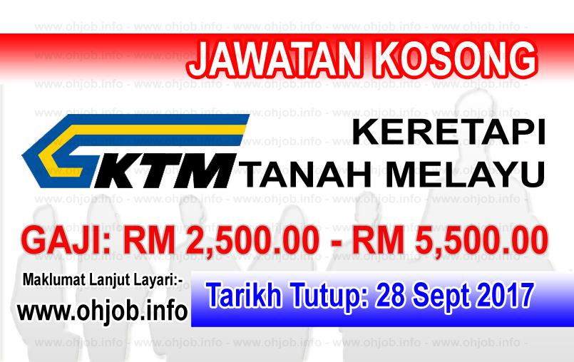 Jawatan Kerja Kosong KTMB - Keretapi Tanah Melayu Berhad logo www.ohjob.info september 2017