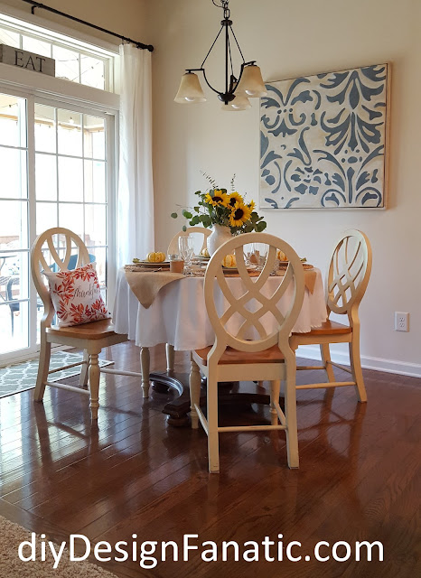 Fall, tablescape , sunflowers, pumpkins, cottage, cottage style, farmhouse, farmhouse style