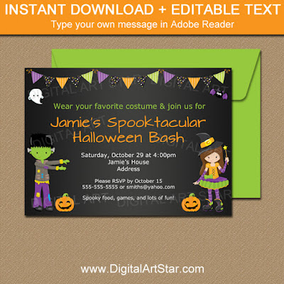 kids halloween party invitation with witch