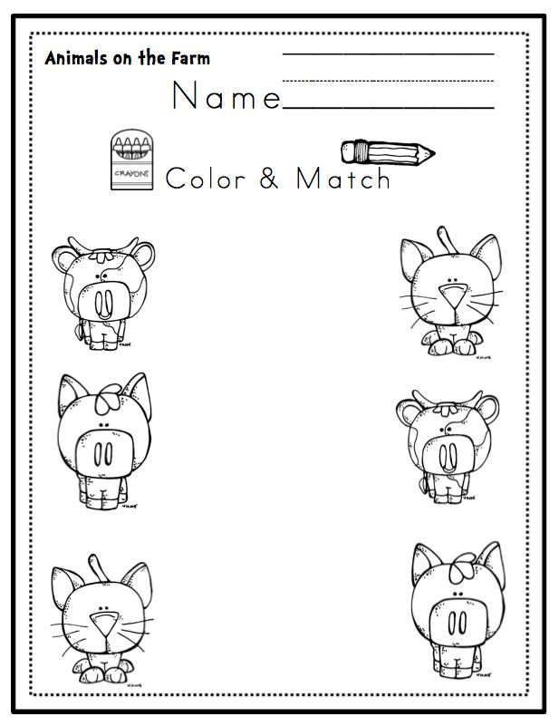 Farm Animals Color-Cut-Paste and More ~ Preschool Printables