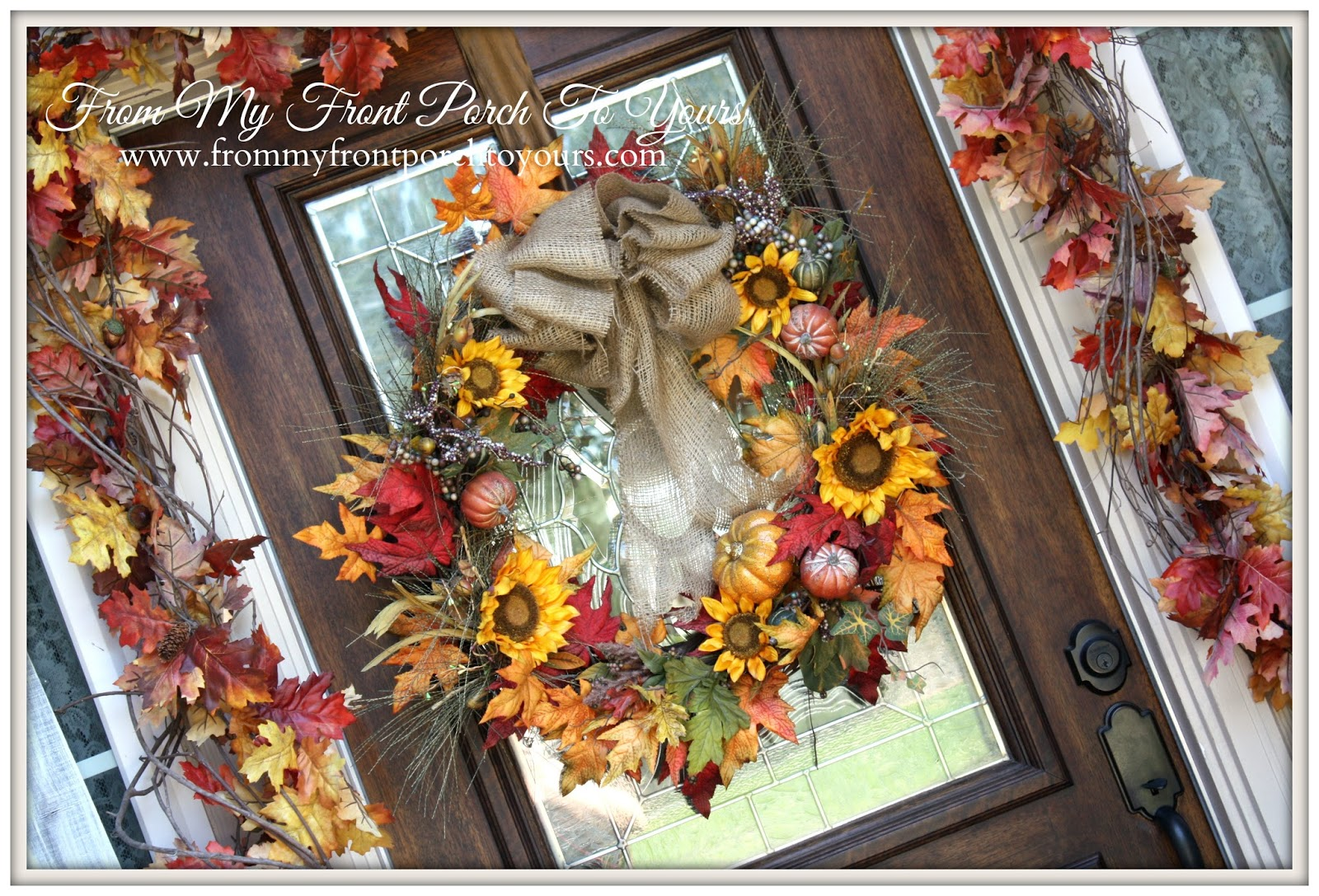 From My Front Porch To Yours- Falling For Fall Porch Party- Sunflower DIY Wreath