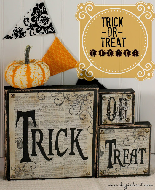 Spooky Halloween Book Page Crafts - Trick or Treat Wood Blocks