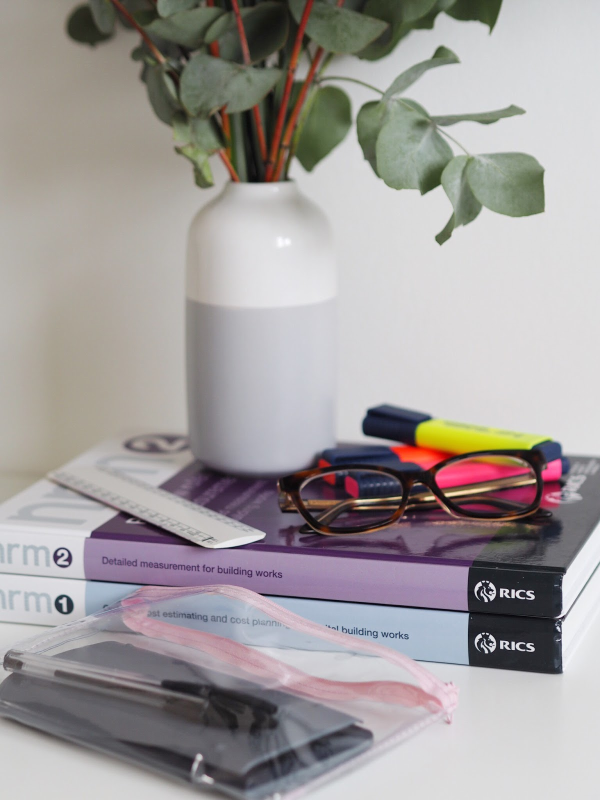 NRM1 & NRM2 Exam Books, Clear Pencil Case, Calculator, Highlighters and Glasses