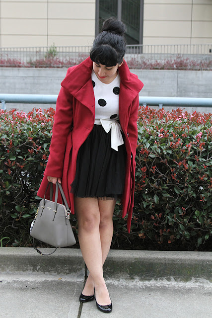 Holiday Red Coat and Black Tulle Skirt Winter Outfit
