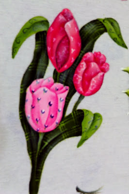 pintura em tecido tulipas pintadas em estilo folk