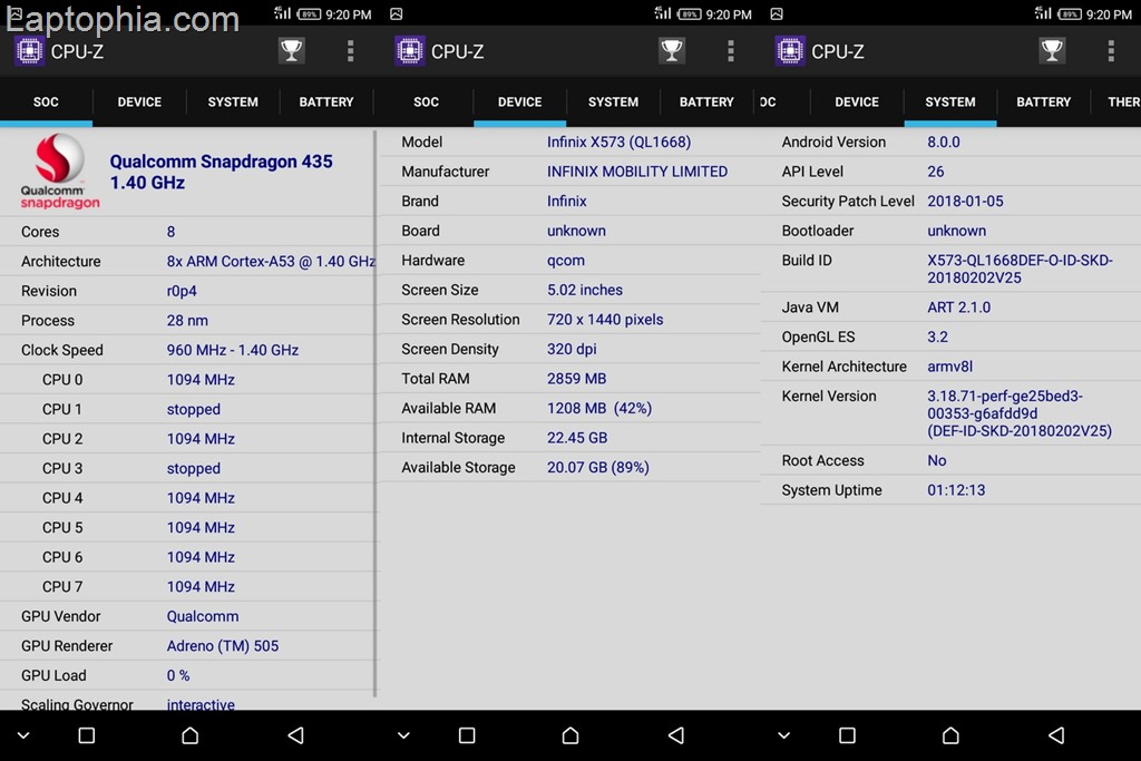 CPU-Z Infinix Hot S3 X573