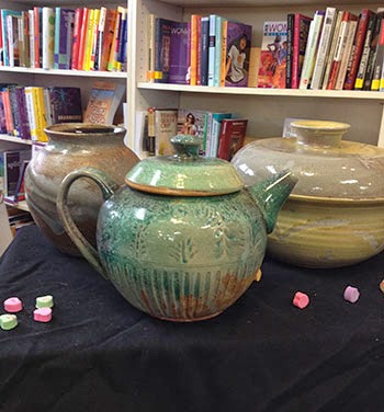 Woodfired vase, tea pot and casserole by Lori Buff