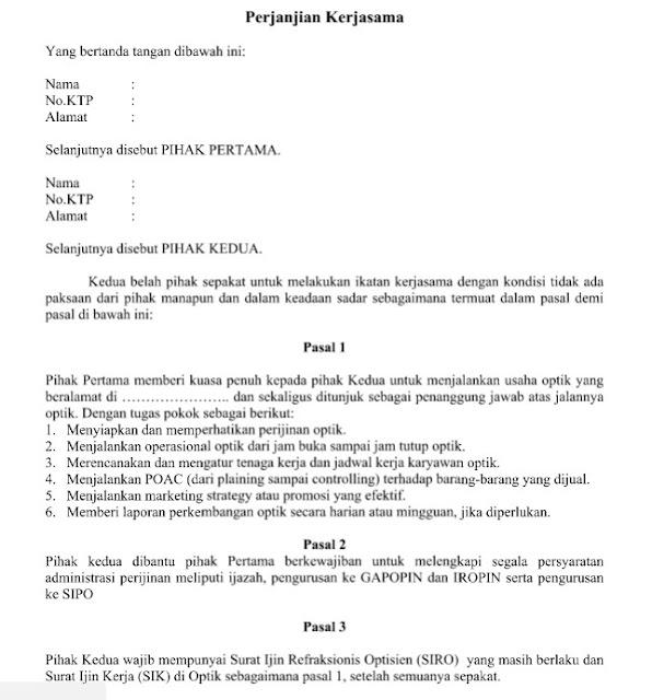 Contoh Surat Perjanjian Kerjasama Pengusaha Dengan Refraksionis Optisien Format Word