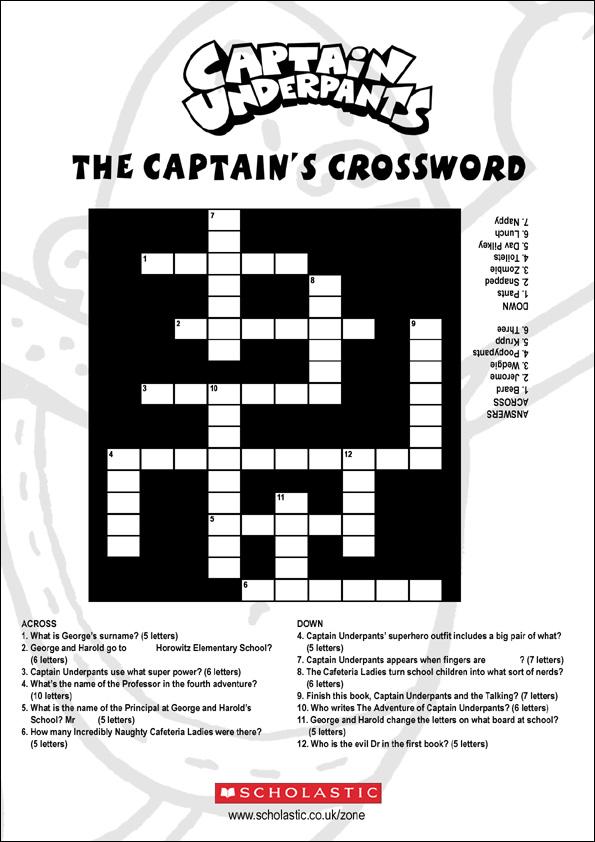 Coloring Activity Pages Captain Underpants Crossword Puzzle