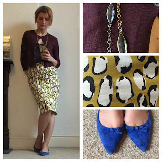 Boden cardigan and skirt, Zara shoes