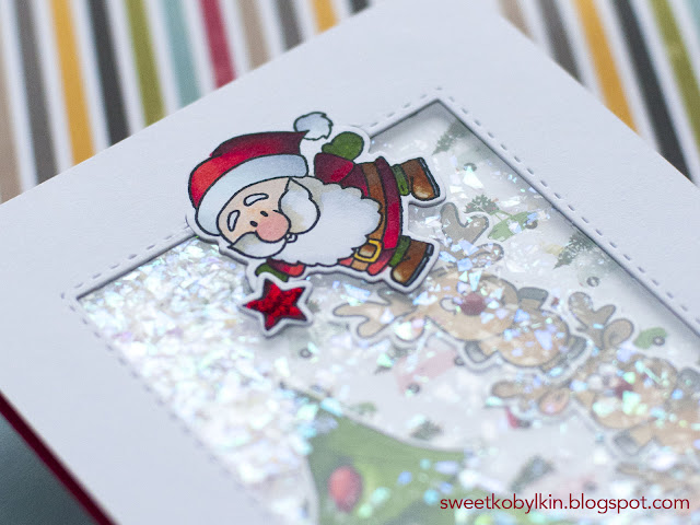 Christmas Shaker Card with Gerda Steiner Designs Stamps Reindeer And A Tree
