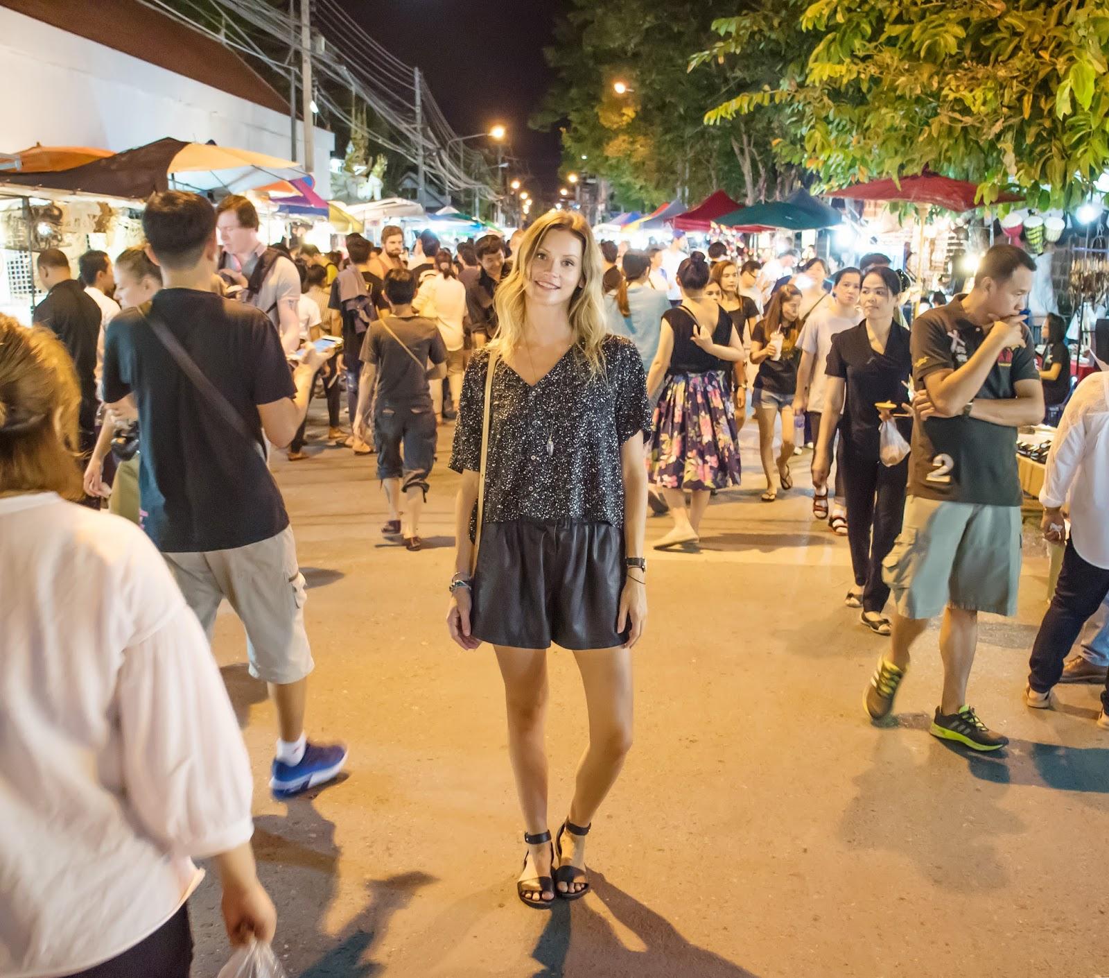 Travel blogger, Alison Hutchinson, at Chiang Mai Sunday Street Market in Thailand
