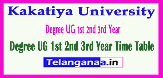 Kakatiya University Degree UG 1st 2nd 3rd Year Time Table 2018