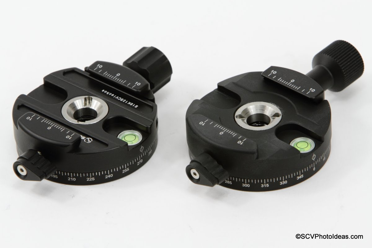 Sunwayfoto DDH-03 and DDH-03i Panning Clamps side by side