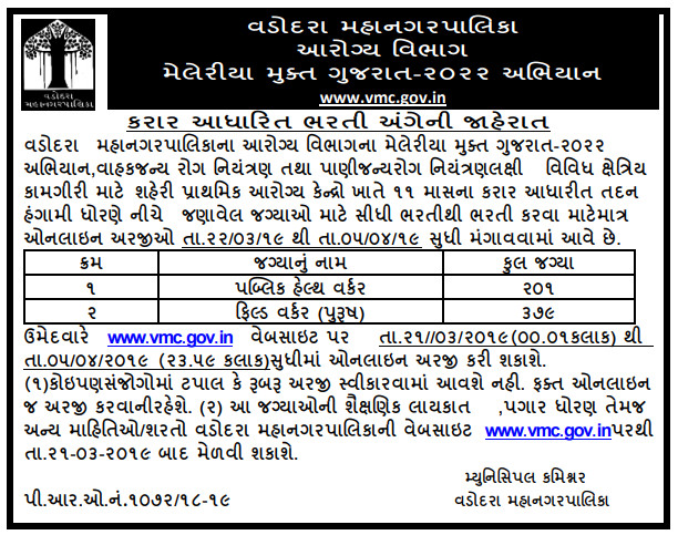 Vadodara Municipal Corporation (VMC)has published Advertisement for the Recruitment of 580 Public Health Worker & Field Worker (Male) Posts 2019.