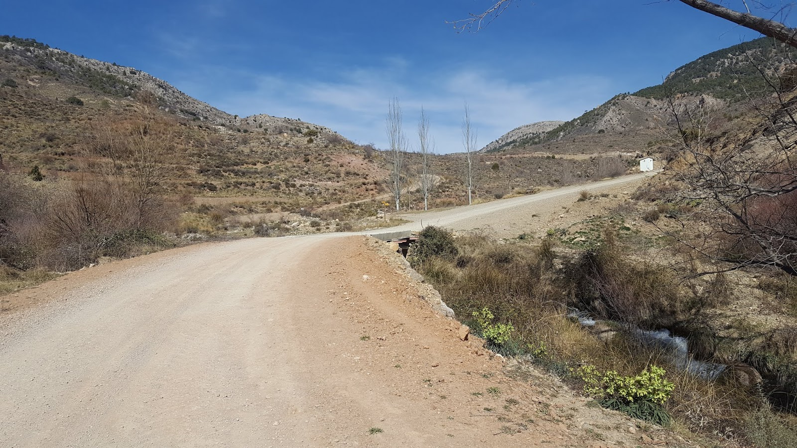 Gravel road to Javalambre Astrophysical Observatory crossing the River Arcos