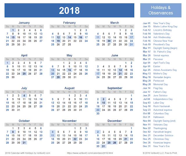 2018 Calendar, Calendar 2018, 2018 Calendar Printable, 2018 Calendar Template, Printable 2018 Calendar, Printable Calendar 2018