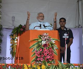 Prime MinisterNarendra Modi at the foundation stone ceremony of the AIIMS Gorakhpur