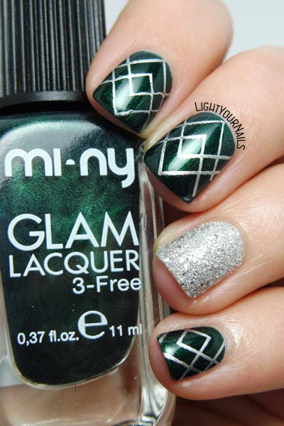 Mi-Ny green and silver nail art #nailart #miny #lightyournails