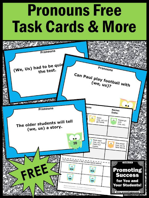 free pronouns task cards games activities