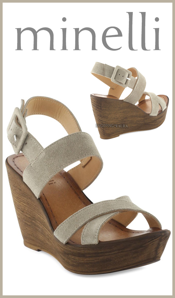 Jolies chaussures compensées MINELLI à lanières couleur taupe