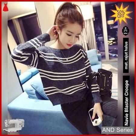 AND340 Baju Atasan Wanita Kaos Biru Navy BMGShop