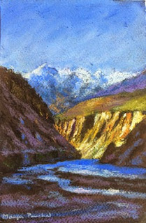 Soft pastel painting of a view on the way from Tabo to Dhankar Monastery, By Manju Panchal