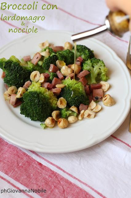 Broccoli con lardomagro Lenti e nocciole tostate
