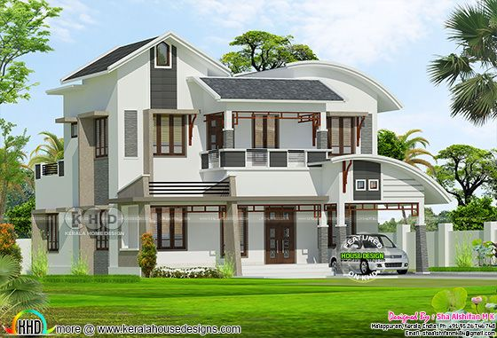 2161 sq-ft mixed roof modern double storied Kerala home