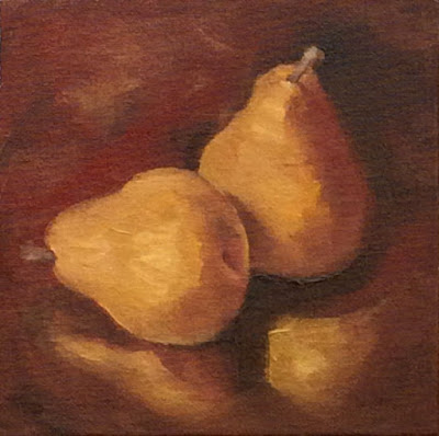 G Sivitz, oil painting, pears, earth tones, art