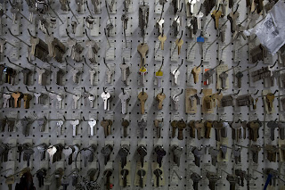 Keys displayed on pegboard