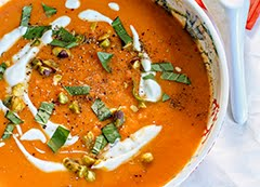 Vibrant Carrot Soup with Rose Harissa (DF)